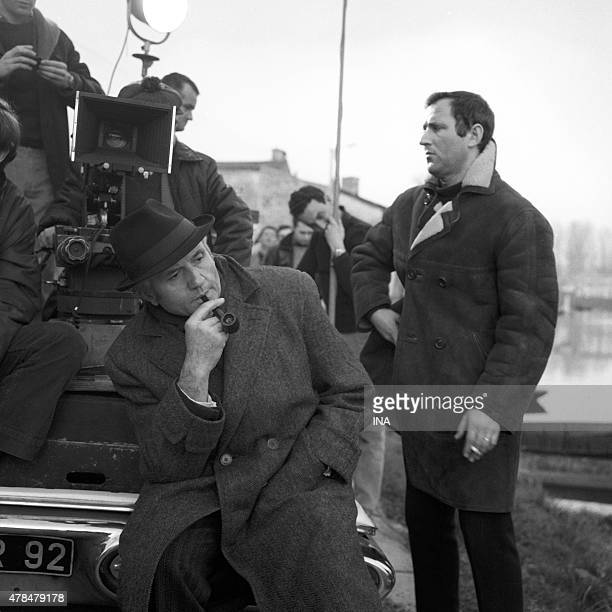 The actor Jean Richard and the director Michel Drach during the shooting of the police series The investigations of the inspector Maigret