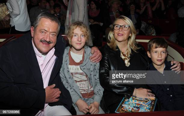 The actor Joseph Hannesschlaeger his godchild Franziska his partner Bettina Geyer and her godchild Philipp pose during the premiere gala of Circus...
