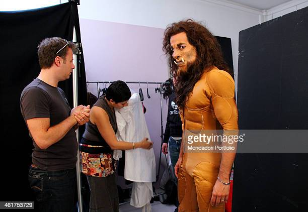 The actor Michel Altieri during a photo shooting on the set of the musical Beauty and the Beast The make up sitting for turning Michel Altieri in the...