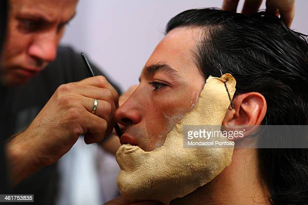 The actor Michel Altieri during a photo shooting portraying the musical Beauty and the Beast The make up sitting for turning Michel Altieri in the...