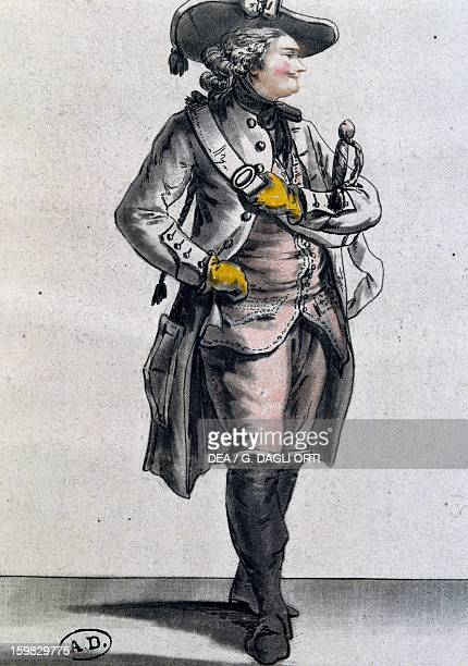 The actor Monsieur Caillot in the role of Julien in the comedy The Sorcerer by FrancoisAndre Danican Philidor engraving France 18th century Paris...