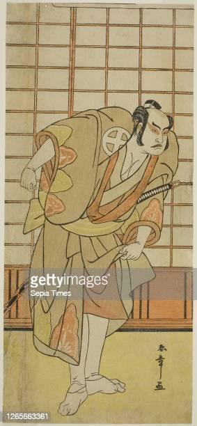 The Actor Otani Hiroji III as Hata no Daizen Taketora Disguised as Shikishima Wakahei in the Play Juni-hitoe Komachi-zakura, Performed at the Kiri...