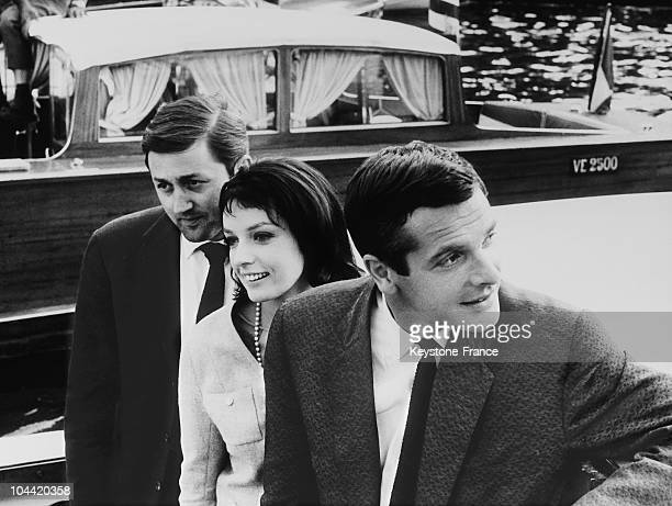The Actor Paum Guers, The Actress And Singer Marie Laforet And The Director Jean-Gabriel Albicocco , Her Future Husband, At The Venice Festival On...