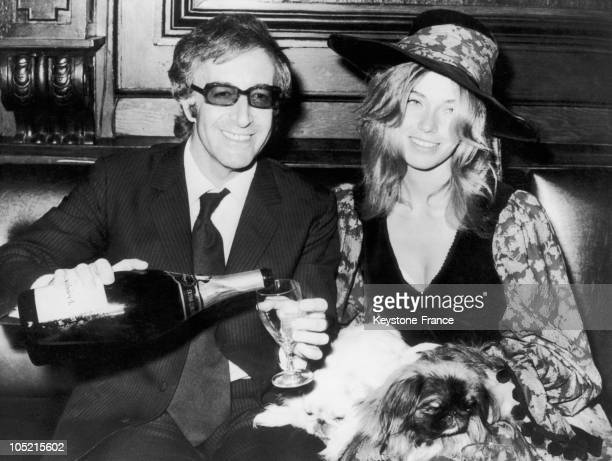The Actor Peter Sellers And His New Wife Miranda Quarry The Stepdaughter Of Lord Mancroft Clinking Glasses At Their Wedding Reception In London On...