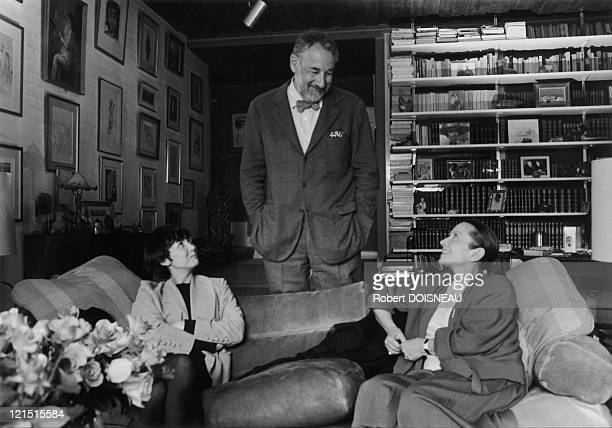 The Actor Philippe Noiret With His Wife Monique Chaumette And The Actress Sabine Azema