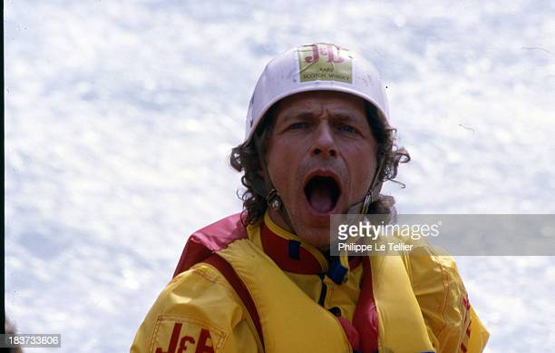 The actor Pierre Richard at the 2nd Grand Prix of France of Rafting in Les Arcs 1986 France L'acteur Pierre Richard au 2eme Grand Prix de France de...