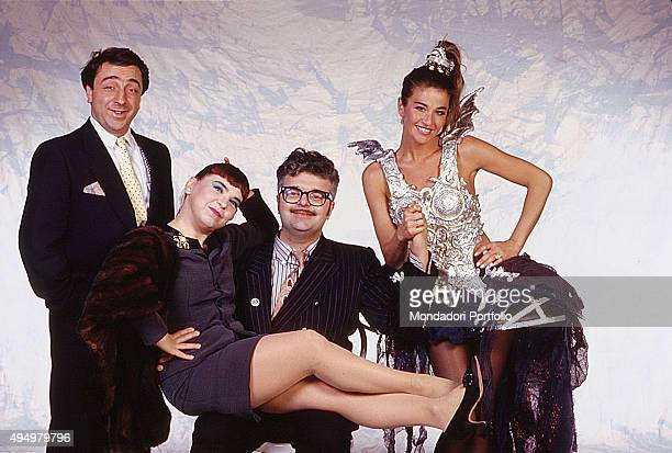 The actor Silvio Orlando the comic duo Syusy Bladi and Patrizio Roversi and the actress and showgirl Eva Robin's in a photo shooting for the show...