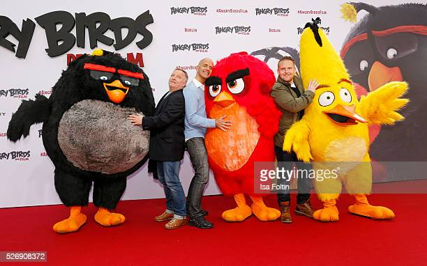 The actors Axel Prahl Christoph Maria Herbst and Axel Stein attend the Berlin premiere of the film 'Angry Birds Der Film' at CineStar on May 1 2016...