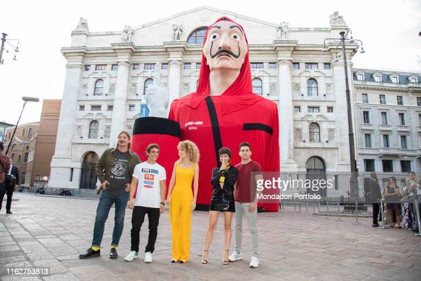 The actors Esther Acebo Jaime Lorente Luka Peroš Miguel Herrán and Úrsula Corberó attend to the presentation of the third season of Money Heist in...