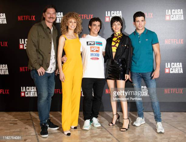 The actors Esther Acebo Jaime Lorente Luka Peroš Miguel Herrán and Úrsula Corberó attend to the presentation of the third season of 'Money Heist' at...