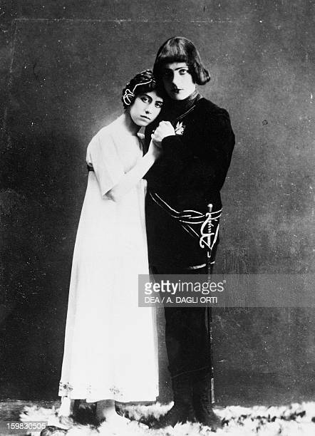 The actors Fanny Falkner and Helge Wahlgren staged in 1909 in Svanevit by Johan August Strindberg Photography Stockholm Strindbergsmuseet