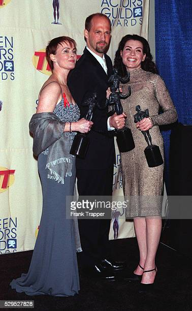 The actors from the series 'ER' Laura Innes Anthony Edwards Julianna Margulies with their awards