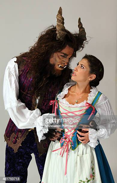 The actors Michel Altieri and Arianna during a photo shooting portraying the musical Beauty and the Beast The make up sitting for turning Michel...