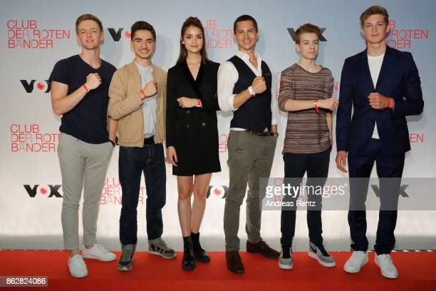 The actors of 'Club der roten Baender' Timur Bartels Ivo Kortlang Luise Befort Tim Oliver Schultz Nick Julius Schuck and Damian Hardung attend a...