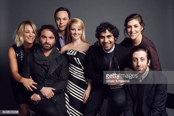 The actors of 'The Big Bang Theory' Kaley Cuoco Johnny Galecki Jim Parsons Melissa Rauch Kunal Nayyapose Mayim Bialik and Simon Helberg pose for a...