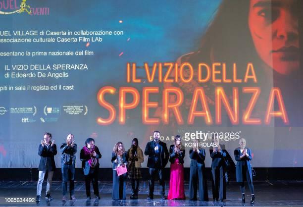The actors of the drama during the presentation of the drama 'Il vizio della speranza' directed by Edoardo De Angelis at the Duel Village in Caserta...
