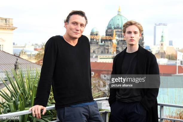 The actors Oliver Masucci and Louis Hofmann stand beside each other during a photoshoot for the European premiere of the Netflix series Dark in...