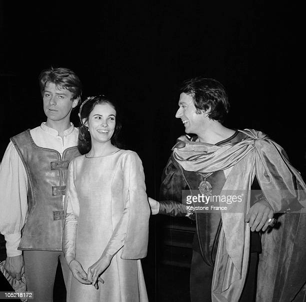 The Actors Robert Benoit As Romeo Francine Racette As Juliet And JeanPierre Cassel As Mercutio Rehearse The Play Romeo And Juliet Directed By Michel...