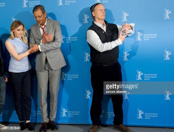The actors Saorise Ronan Jeff Goldblum and Bill Murray pose during the photocall for 'The Grand Budapest Hotel' at the 64th annual Berlin Film...