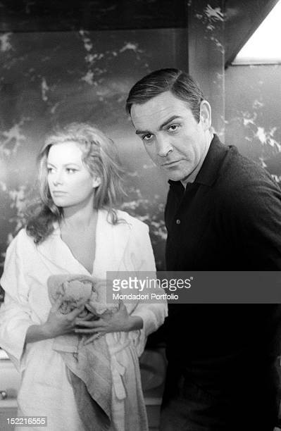 The actors Sean Connery and Luciana Paluzzi prepare themselves to shoot a hot scene from Thunderball, fourth episode of secret agent 007's series....