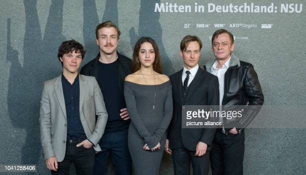 The actors Sebastian Urzendowsky Albrecht Schuch Almila Bagriacik Tom Schilling and Sylvester Groth arriving at the premiere of the movie trilogy...