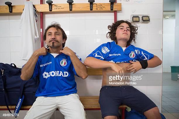 The actors Simone Barbato and Adelmo Blue Fornaciari in the locker room during the Partita del Cuore between the Nazionale Italiana Cantanti and the...