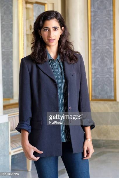 the actress Alba Flores poses during the presentation of TROYANAS at the Teatro Español de Madrid