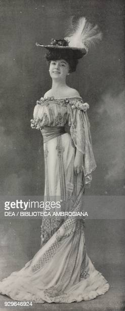 The actress Amelie Dieterle wearing a Martial et Armand dress and Lewis hat photograph by R Moreau from Le FigaroModes No 14 February 1904