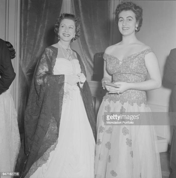 The actress and scriptwriter Eliana De Sabata smiling beside Angela Maria Scaltriti at the opening night of the opera 'La Wally' by Alfredo Catalani...