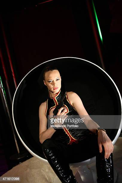 The actress and showgirl Anna Falchi photo shooted for Sky Cinema at Saxa Rubra studios Makeup by Ermanno Spera and hairdressing by Teresa from...