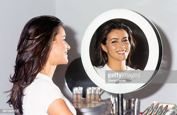The actress and TV presenter Arancha Del Sol in her store cosmetics, 7th June1999, Madrid, Spain..