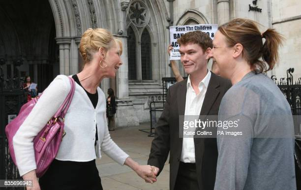 The actress and wife of Sting Trudie Styler outside the High Court with Gary McKinnon and his girlfriend Lucy Clark