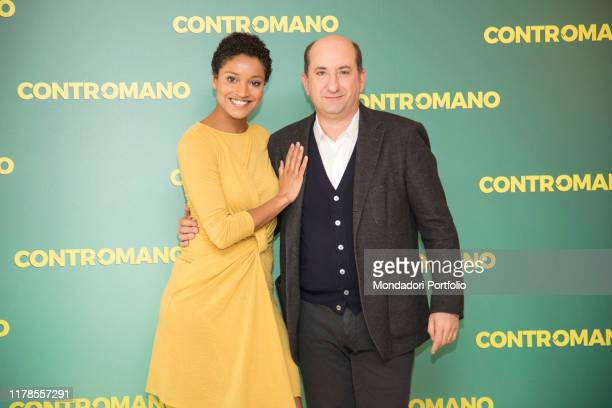 The actress Aude Legastelois and the Italian actor and director Antonio Albanese at the photocall presenting the film Contromano, cinema Anteo....
