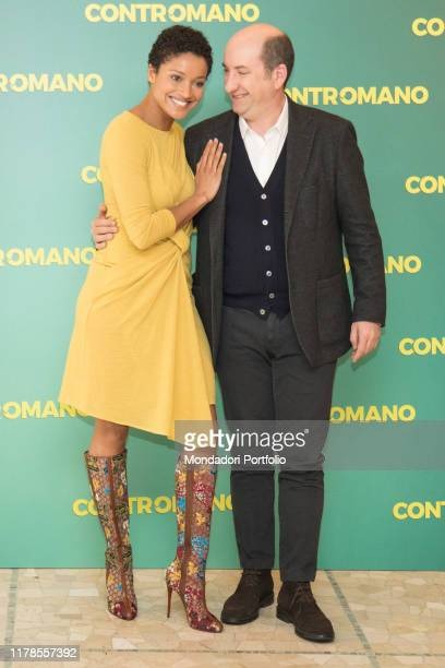The actress Aude Legastelois and the Italian actor and director Antonio Albanese at the photocall presenting the film Contromano cinema Anteo Milan...