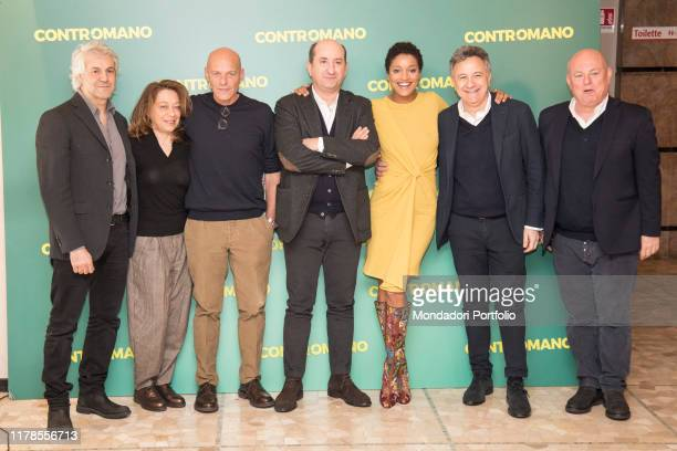 The actress Aude Legastelois and the Italian actor and director Antonio Albanese with the production team at the photocall presenting the movie...