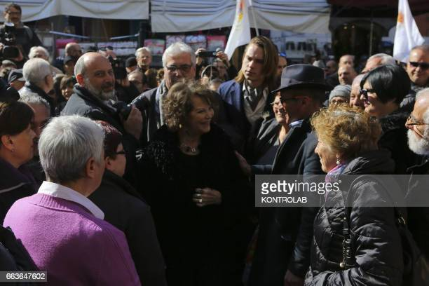 The actress Claudia Cardinale during a moment of the funeral director, screenwriter and political Pasquale Squitieri at the Church of the Virgin in...