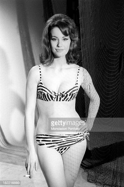 The actress Claudine Auger who plays the part of Domino in Thunderball by Terence Young fourth episode of secret agent 007's series parades her body...