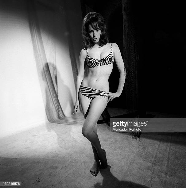 The actress Claudine Auger who plays the part of Domino in the movie Thunderball fourth episode of secret agent 007's series parades her body that...