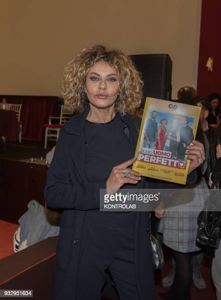 The actress Eva Grimaldi at the press conference to present the film My perfect man by the director Nilo Sciarrone