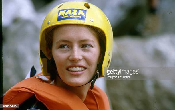 The actress Gabrielle Lazure at the 2nd French Grand Prix in Les Arcs France 1986 L'actrice Gabrielle Lazure au 2eme Grand Prix de France de Raft aux...