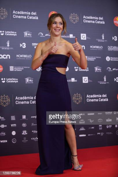 The actress Georgina Amoros is seen posing in the photocall of the XII Gaudi Awards granted by the Catalan Film Academy on January 19 2020 in...