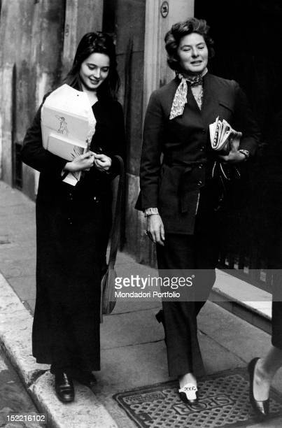 The actress Ingrid Bergman strolling through Rome with her daughter Isabella Rossellini Rome 1974