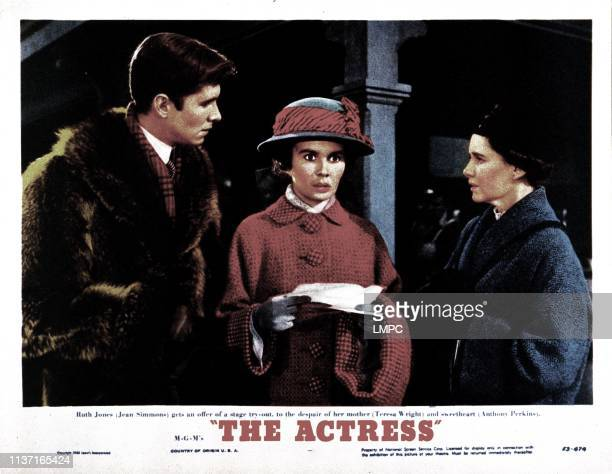 The Actress lobbycard from left Anthony Perkins Jean Simmons Teresa Wright 1953