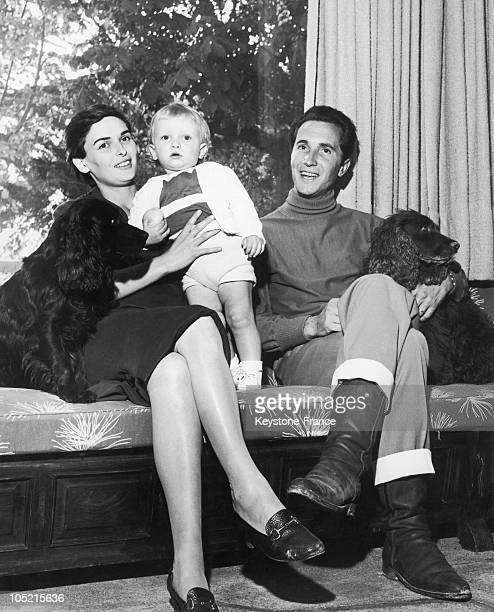 The Actress Lucia Bose And Her Husband Bullfighter Luis Miguel Dominguin With Their Son Miguel Who Is 13 Months And Their 2 Dogs At Home Villa Paz In...