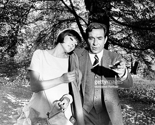 The actress Maria Grazia Buccella hugs tenderly the actor Ugo Tognazzi in a scene from the movie Dismissed on His Wedding Night they play Maria...