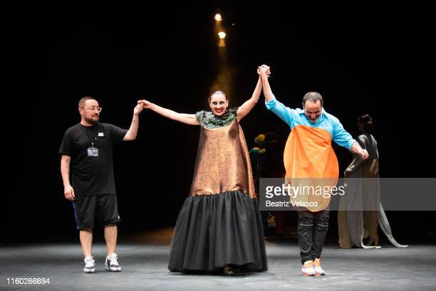 The actress Mariola Fuentes and Maison Mesa walk the runway at the Maison Mesa fashion show during the Mercedes Benz Fashion Week Spring/Summer 2020...