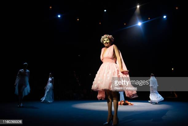 The actress Mariola Fuentes and the models walk the runway at the Maison Mesa fashion show during the Mercedes Benz Fashion Week Spring/Summer 2020...