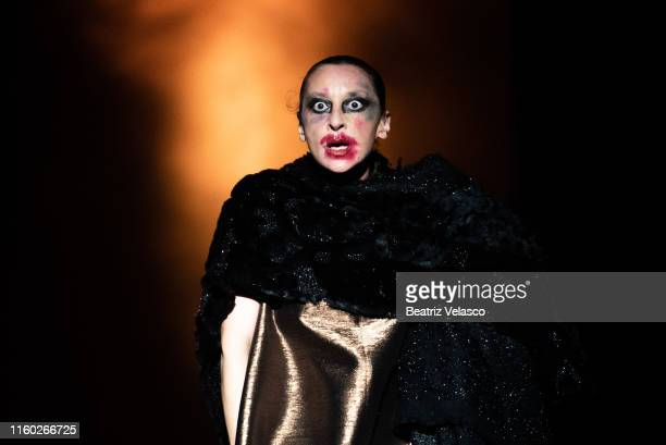 The actress Mariola Fuentes walks the runway at the Maison Mesa fashion show during the Mercedes Benz Fashion Week Spring/Summer 2020 at Circo Price...