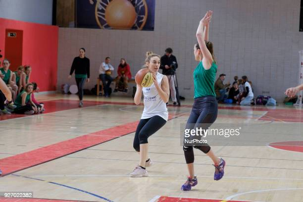 the actress Marta Hazas during the charitable women's basketball game actresses vs explayers at the Sports Facilities of the Canal in Madrid Spain...