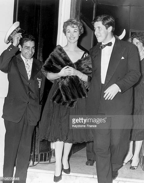 The Actress Nadine Tallier, Future Baroness De Rothschild And Lance Docker At The Cannes Film Festival 1958